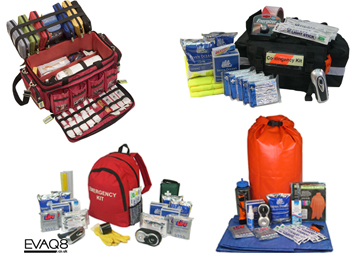 Standard and custom-made Emergency and Disaster Preparedness Kits | Prepper supplies: Emergency and Disaster Preparedness - tools and equipment for emergency preparedness, emergency management and disaster recovery | standard and bespoke Preparedness Kits from EVAQ8.co.uk the UK's Emergency and Disaster Preparedness specialist