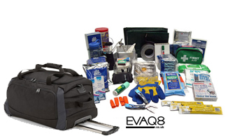 Disaster Survival Kit in Wheeled Bag | Prepper supplies: Emergency and Disaster Preparedness - tools and equipment for emergency preparedness, emergency management and disaster recovery | standard and bespoke Preparedness Kits from EVAQ8.co.uk the UK's Emergency and Disaster Preparedness specialist